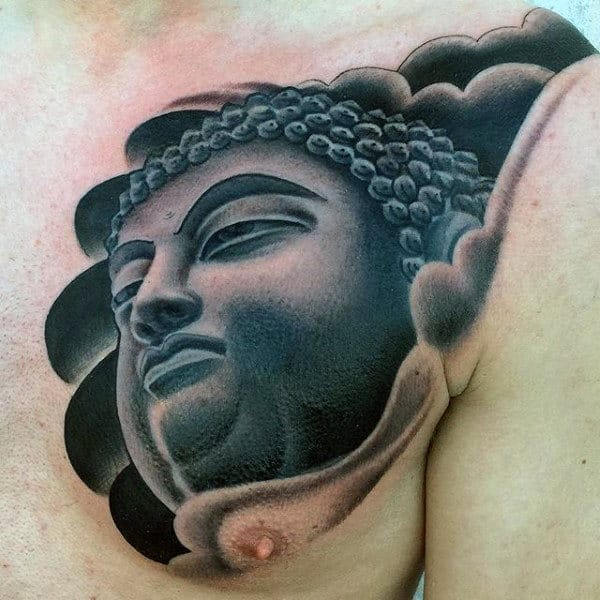 Grey Shaded Buddha Portrait Tattoo On Chest For Men