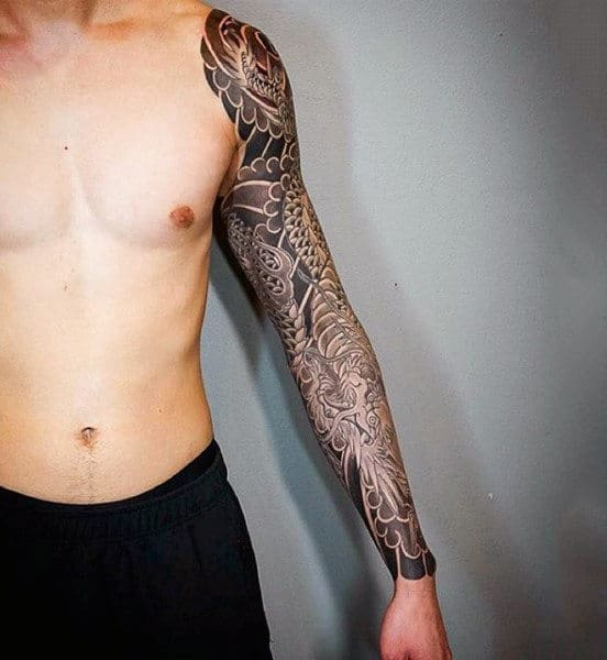 Grey Shaded Dragon Tattoo Full Sleeves