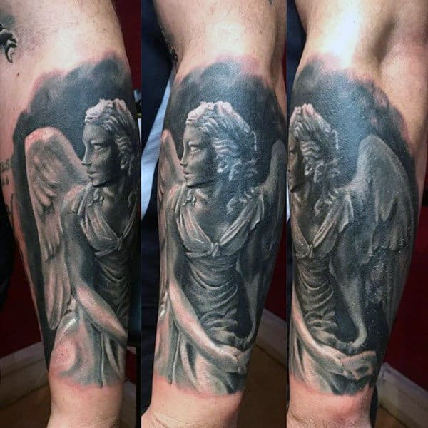 Grey Shaded Guardian Angel Tattoo Guys Calves