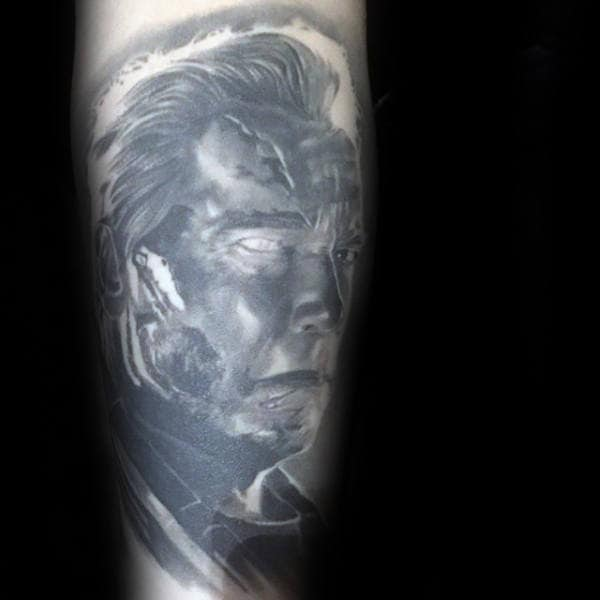 Grey Shaded Ink Tattoo Of Terminator For Men On Arm