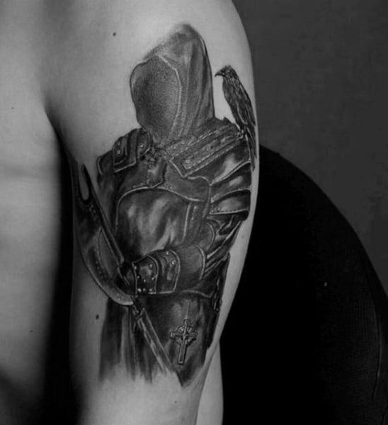 Grey Shaded Masked Warrior Tattoo Mens Arms