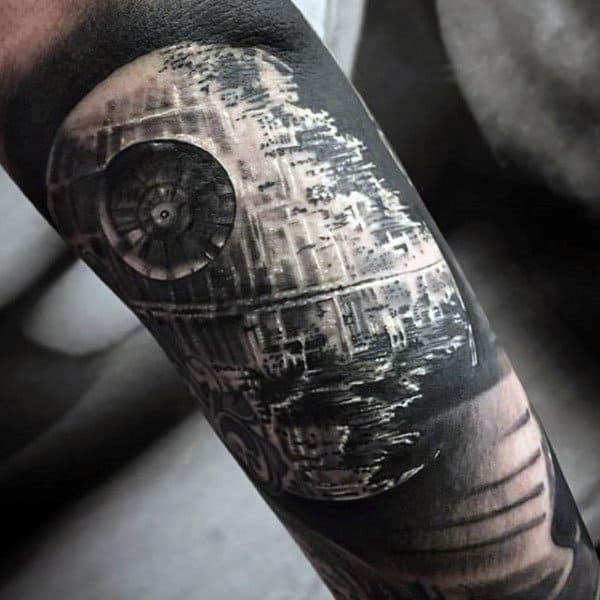 Grey Shaded Star Wars Tattoo Male Forearm