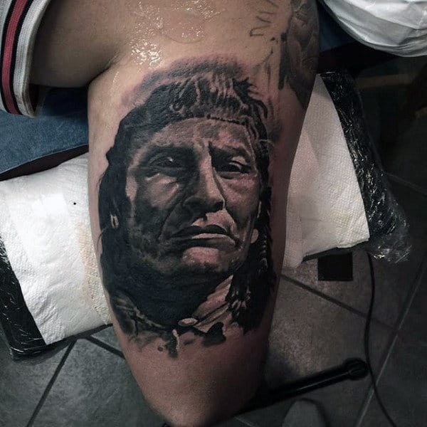 Grey Sketch Of Native American Tattoo Mens Arms