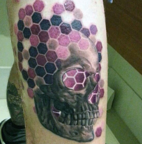 Grey Skull And Purple Honeycomb Tattoo Mens Upper Arms