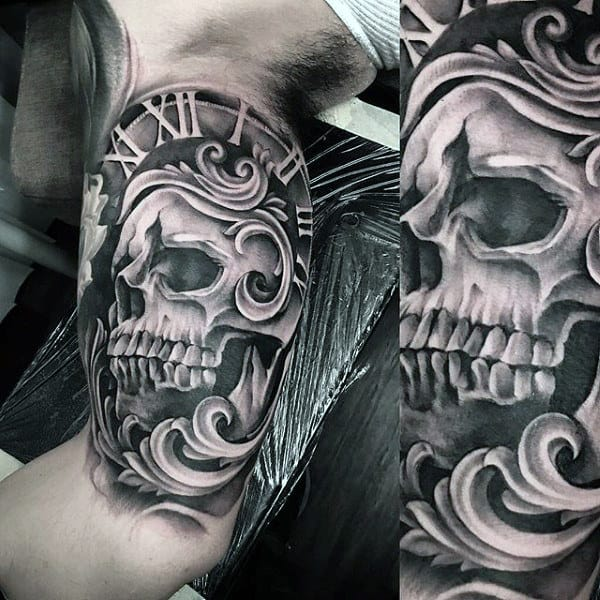Grey Skull Designed Pocket Watch Tattoo On Arms For Guys