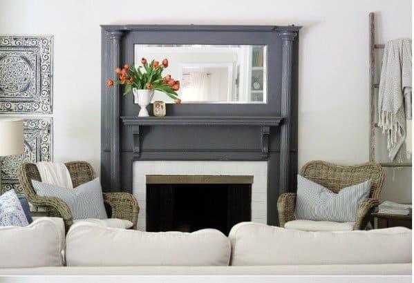 Grey Sleek Painted Fireplace Ideas