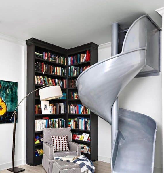 Grey Slide Home Library Indoor Ideas