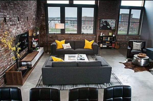 Grey Sofa With Yellow Accent Pillows Bachelor Pad Furniture