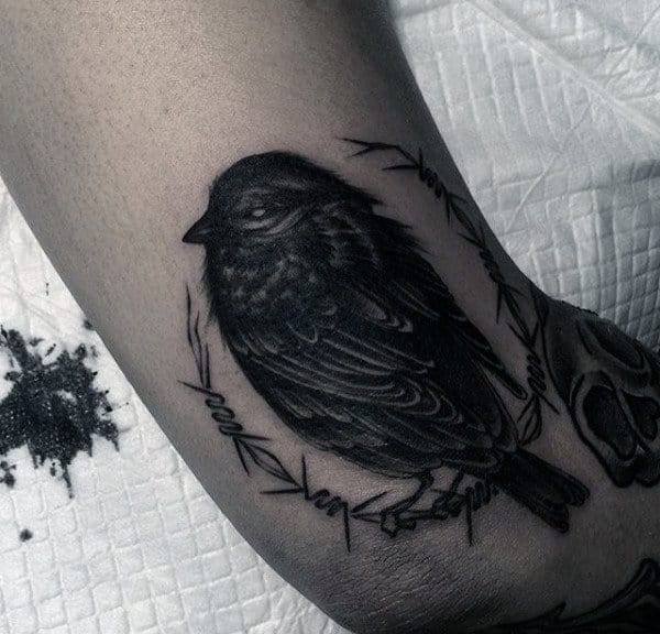 Grey Sparrow Tattoo With Detailed Feather Work Mens Arms