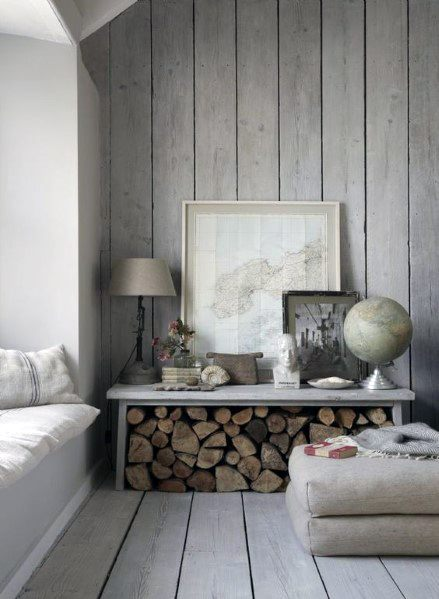 Grey Stained Interior Designs Wood Walls