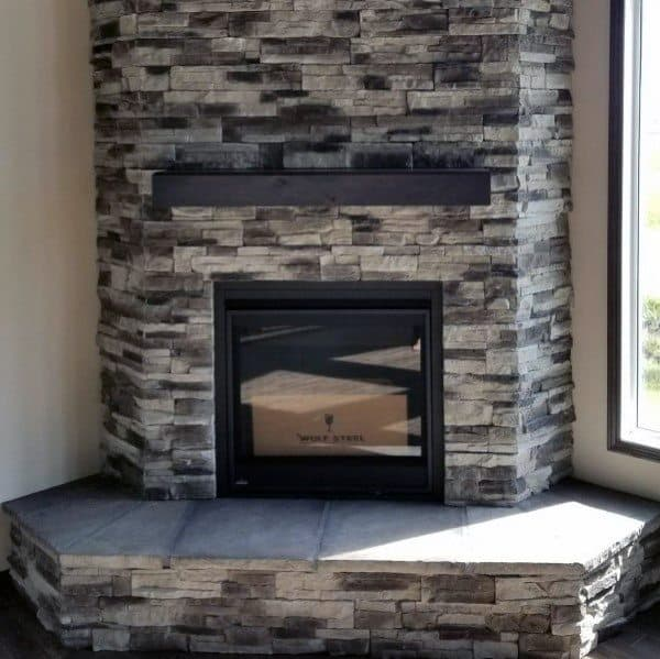 Grey Stone Corner Fireplace Design Ideas