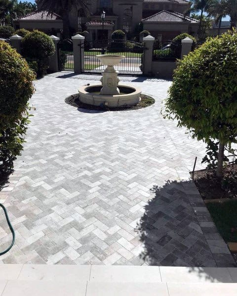 Grey Stone Driveway Landscaping