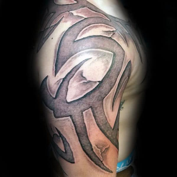 Grey Stone Guys Shoulder And Arm 3d Tribal Tattoo