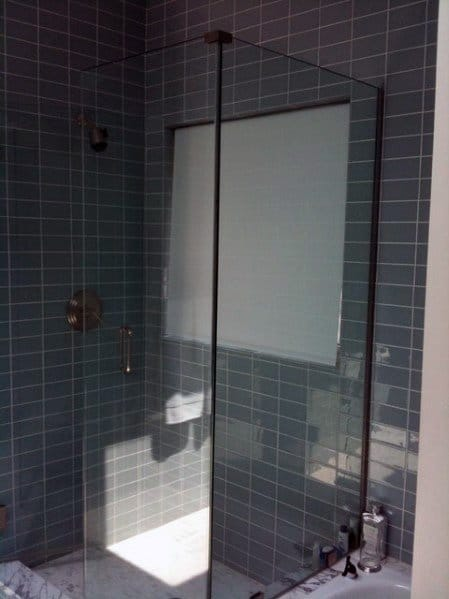 Grey Subway Tile Corner Shower Cool Bathroom Ideas