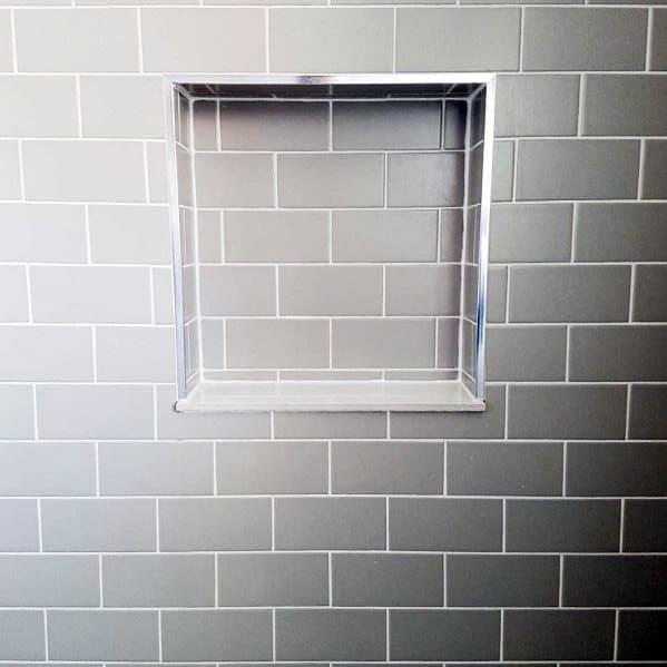 Grey Subway Tile Shower Niche Ideas