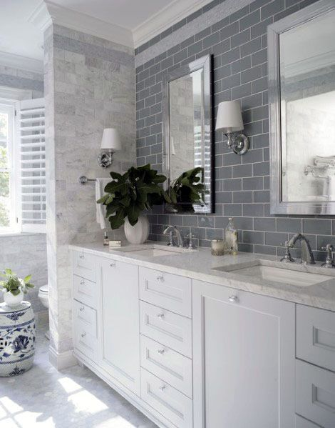 Grey Subway Tile With White Vanity Bathroom Backsplash Ideas