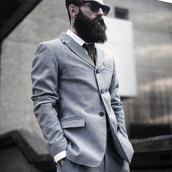 Grey Suit Handsome Mens Professional Beard Style Inspiration