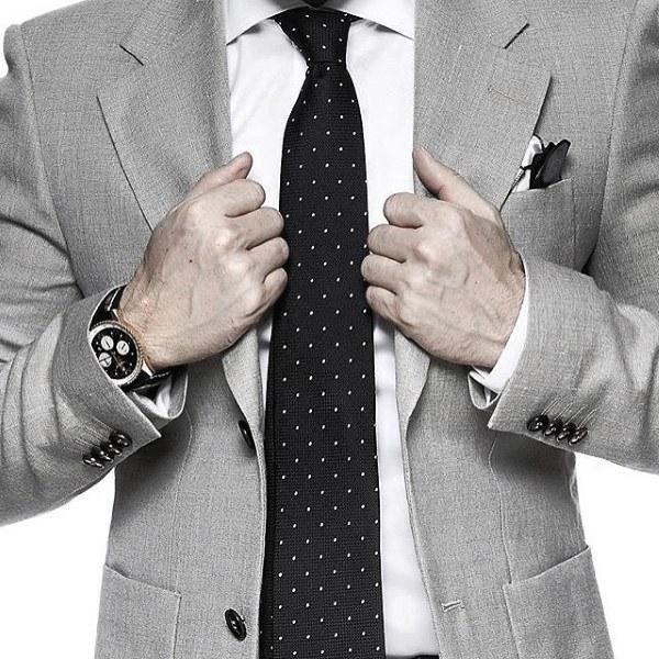 Grey Suit Styles For Gentlemen Black Dot Tie