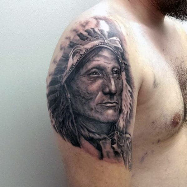 Grey Tattoo Of Old Native American On Males Arms