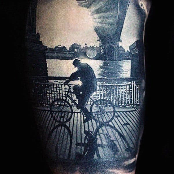Grey Tattoo With Amazing Shadow Effect Realism Tattoo Male Arms