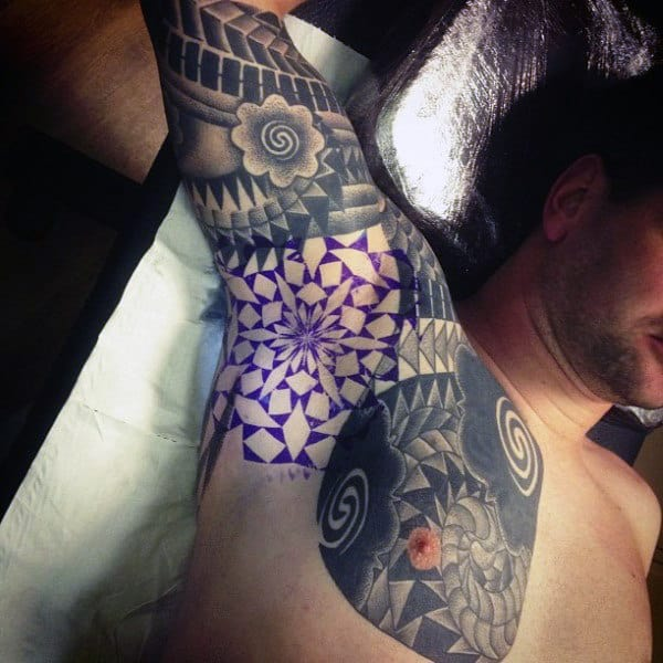 Grey Tattoo With Purple Highlighted Design Guys Armpits