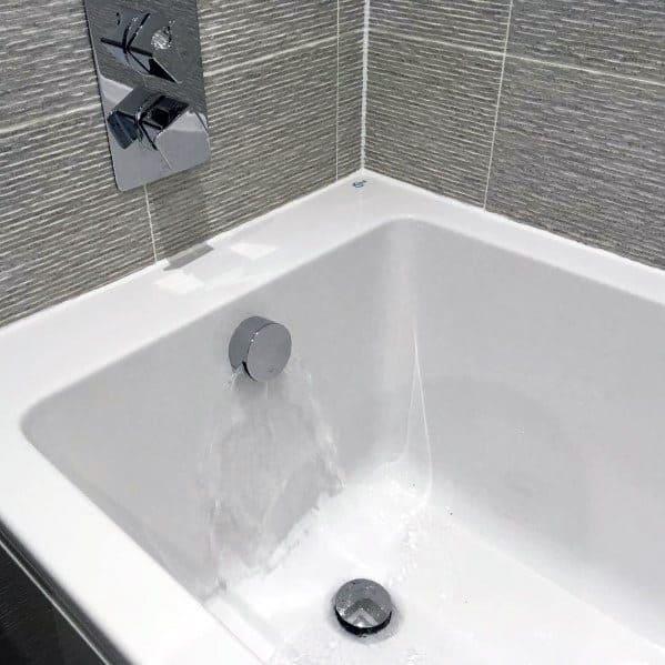 Grey Textured Tile Bathroom Tub Surround Ideas
