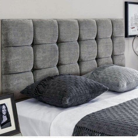 Grey Thick Padded Bedroom Headboard Ideas