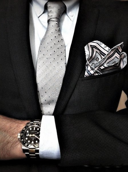 Grey Tie White Dress Shirt Cool Unique Black Suit Styles For Men With Fancy Pocket Square