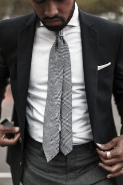 Grey Tie With Black Blazer Trendy Outfits Style