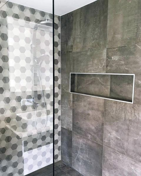 Grey Tile Bathroom Ideas For Shower Niches