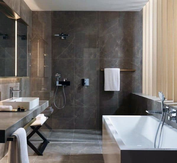 Grey Tile Bathroom Shower Wall Ideas