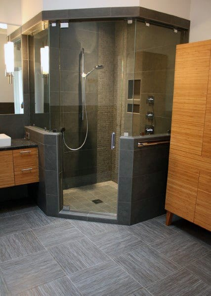 Grey Tile Corner Shower Design Ideas