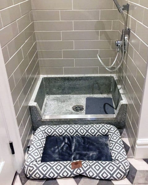 Grey Tile Home Dog Wash Idea Inspiration