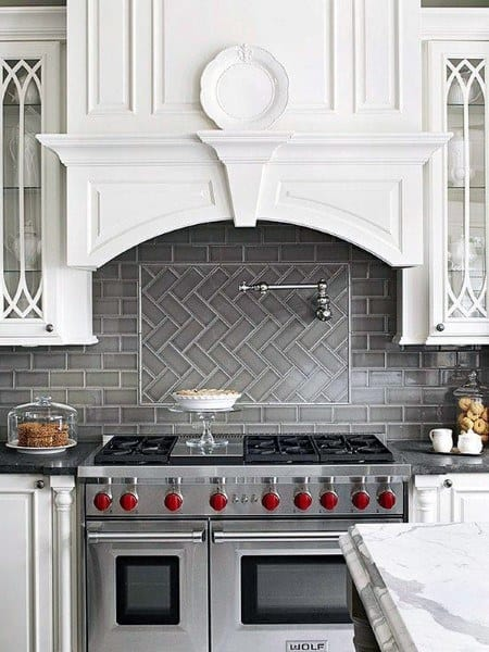 Grey Tile Kitchen Backsplash