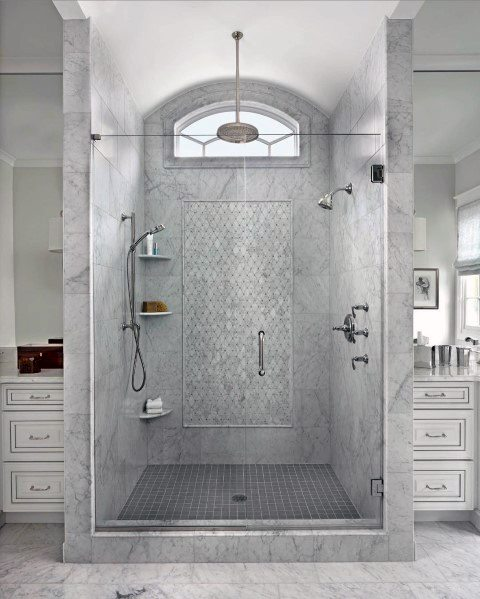 Grey Tile Shower Master Bathroom Ideas