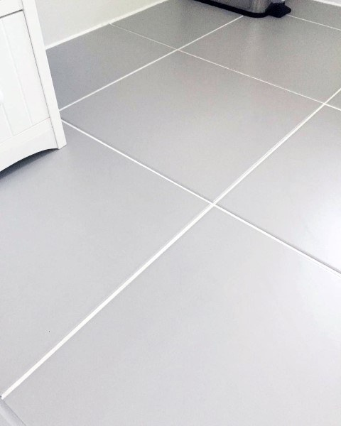 Grey Tile With White Grout Bathroom Floor