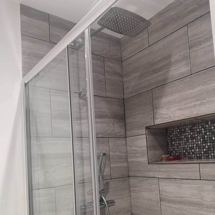 Grey Tiles Bathroom Recessed Shelves Theavosreno