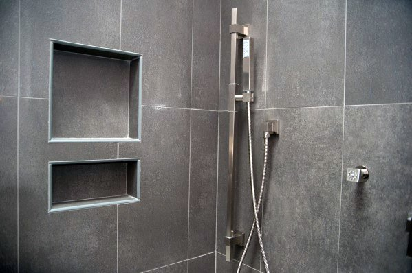 Grey Tiles Ceramic Shower Niche Ideas