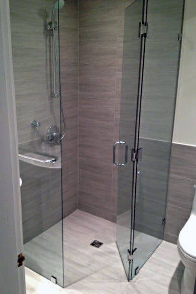 Grey Tiles Glass Corner Shower