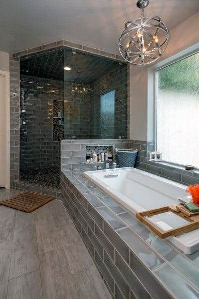 Grey Tiles Good Ideas For Corner Shower