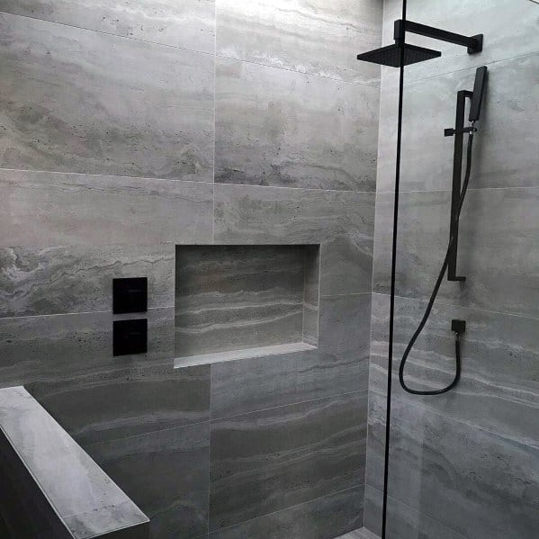 Grey Tiles Shower Niche Ideas