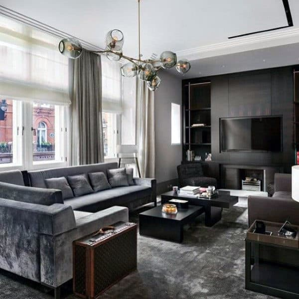 Superbe Grey Tone Bachelor Pad Living Room Manly Design Ideas