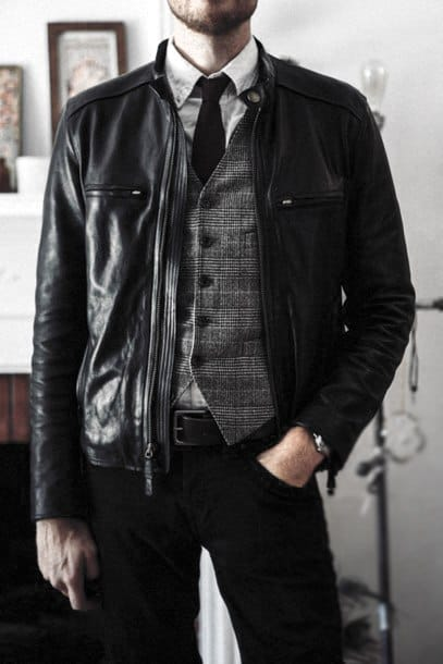 Grey Vest With Black Tie And White Dress Shirt How To Wear A Leather Jacket Leather Jacket Style Ideas For Guys