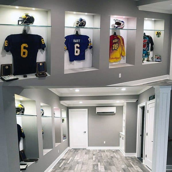 Grey Walls With Sports Jerseys Mens Basement Man Cave Designs