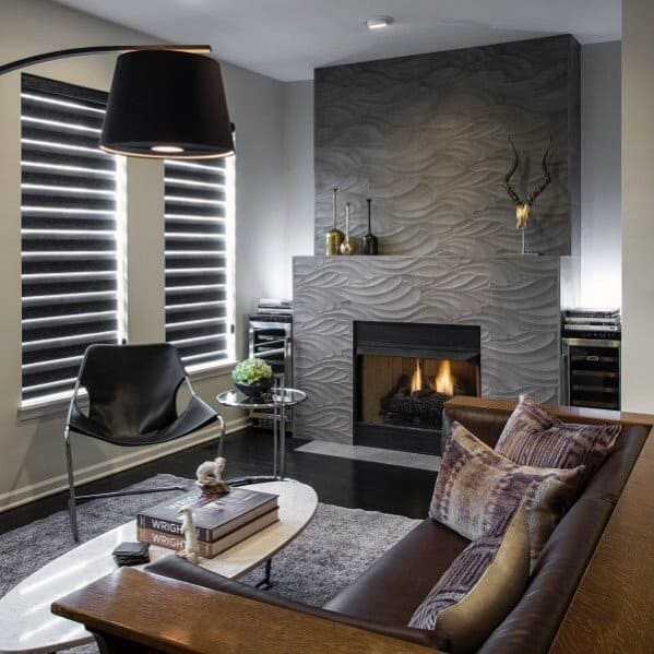 Grey Wavy Pattern Tile Around Fireplace Ideas