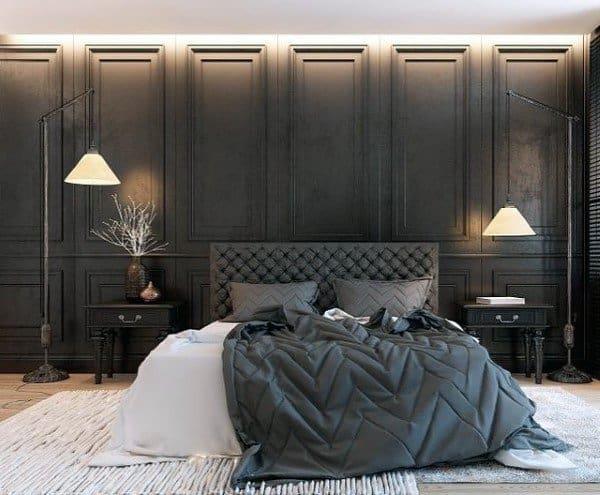 Grey White And Black Bedroom Designs & Top 50 Best Black Bedroom Design Ideas - Dark Interior Walls