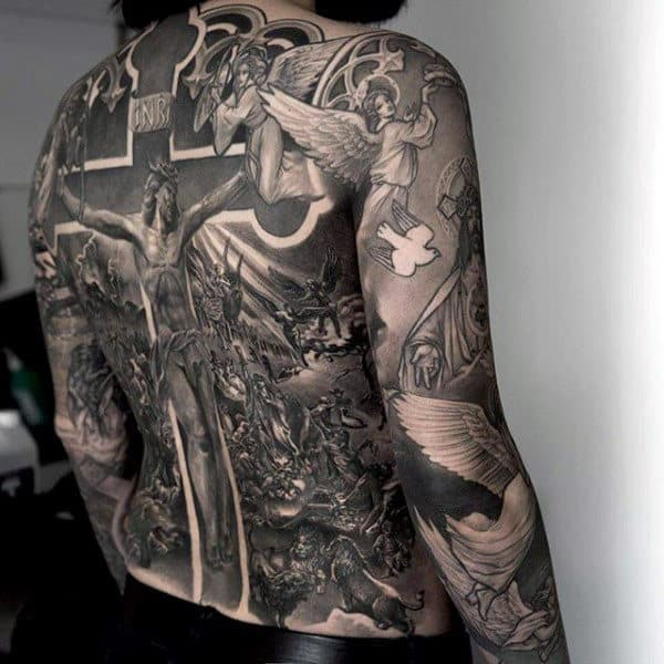 Grey White Religious Tattoo Male Sleeve