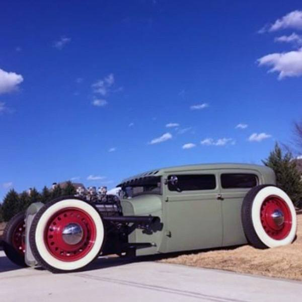 Grey With Red Wheels And White Wall Tires Badass Rat Rods