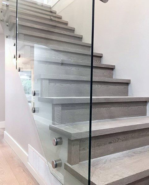 Grey Wood Glass Railing Staircase Ideas