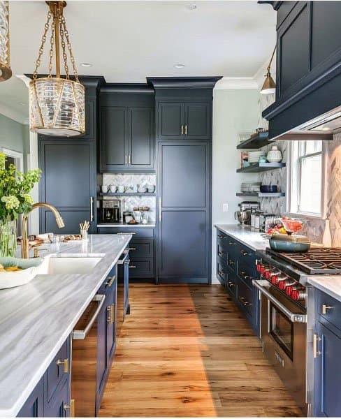 Greyish Blue Kitchen Cabinet Ideas